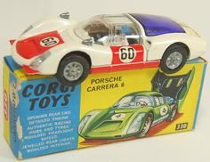 Vintage Corgi diecast model Porsche Carrera 6 White with Red Bonnet and Doors $150