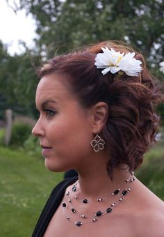 Since I have two girls with short hair!! :) Bridesmaid half updo medium to short hair. super cute but i think should be done on otherside so can be seen when standing with bride!