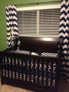 Like the curtains. - Navy Chevron  Boys Custom Baby Bumper Pad Crib Set by abusymother, $50.00