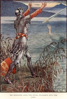 Sir Bedevere Casts the Sword Excalibur into the Lake, Art by Walter Crane, 1911