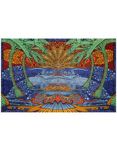32 Sunshine Joy 3D Epic Tropical Surf Wave Tapestry Beach Sheet Hanging Wall Art - Amazing 3-D Effects (60X90 inches)