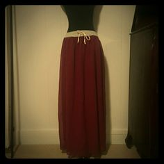Maxi skirt Double layer with sheer maroon fabric the waistband is elastic covered with distressed grey jersey material and cream string super cute casual maxi never worn Dresses Maxi