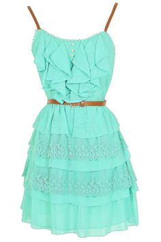 Nashville Nostalgia Belted Ruffle Dress in Mint or a summer dress Mode Outfits, Dress Outfits, Casual Dresses, Short Dresses, Fashion Dresses, Prom Dresses, Fashion Clothes, Teal Dresses, Skater Outfits
