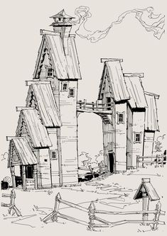 Had a great time drawing this weird shape house which I hope you guys will enjoy. Landscape Architecture Model, Architecture Portfolio Layout, Architecture Drawing Plan, Architecture Drawing Sketchbooks, Water Architecture, Conceptual Architecture, Building Illustration, House Illustration, Perspective Drawing Lessons
