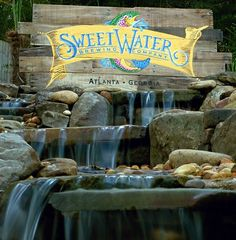 Sweetwater Brewing Company sign, ; Hand Painted pallet wood logo sign in full color. Pallet ideas and pallet signs By Scrapwork Designs.