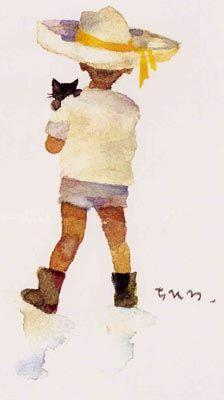 Chihiro Iwasaki Art And Illustration, Watercolor Illustration, Watercolor Paintings, Book Illustrations, Watercolors, Japanese Watercolor, Japanese Artists, Gravure, Cat Art