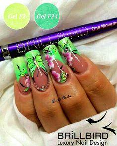 Green Floral Nail Art ❤