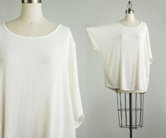 90s Vintage Ivory Tunic Shirt / Medium / Large by decades on Etsy, $28.00