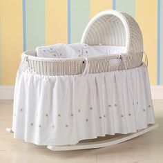 The Land of Nod | Baby Bassinets & Baskets: Baby White Hand-Woven Bassinet in Bassinets