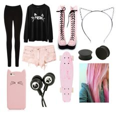 """pastel goth #22"" by ironically-a-strider21 ❤ liked on Polyvore featuring Oasis, Kate Spade, KAOS and Surfer Girl"