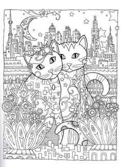 Gatos para colorear 18 Coloring Pages For Grown Ups, Adult Coloring Book Pages, Animal Coloring Pages, Colouring Pages, Printable Coloring Pages, Coloring Sheets, Cat Coloring Page, Doodle Coloring, Zentangle