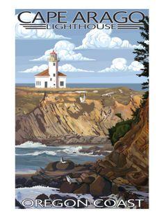 Oregon Coast - Cape Arago Lighthouse - Lantern Press Artwork (Art Print Available) Lighthouse Photos, Lighthouse Art, State Of Oregon, Oregon Coast, Oregon Usa, Party Vintage, Cool Posters, Vintage Travel Posters, Illustrations