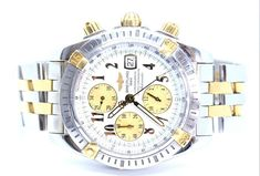 Two tone stainless steel and Gold Breitling link bracelet. Stainless steel case and with gold and steel bezel. White face with golden subdials, hand and hour markers. Here at Gold Coast Jewellery Loans, we aren't just a simple pawnbroker. Breitling Chronomat Evolution, Gold Coast, Stainless Steel Case, Link Bracelets, Chronograph, Watches For Men, Jewellery, Accessories, Ebay