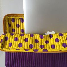 Whimsical Hand Stitched Purple+Yellow Laptop Case with a Cause // Fair Trade // Handmade // Gifts for Her // Holiday Gifts // Give Back