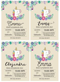 invitacion unicornio baby shower
