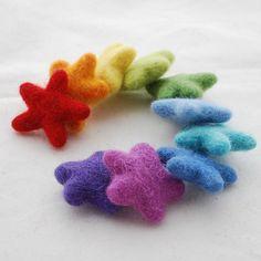 100% Wool Felt Star 10 Count Rainbow Colours by handmadeonly