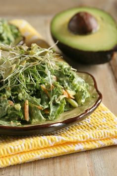 Salad Recipe: Green Goddess Kale Slaw #vegan #salad #recipes #glutenfree | by @Healthful Pursuit