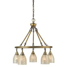 allen   roth Lynlore 24.02-in 5-Light Old Brass Vintage Mercury Glass Draped Chandelier could add my vintage prisms and beads.
