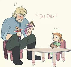 "Poor Kristoff. He has to have ""The Talk"" with his daughter. Why can't Anna do this? lol XD"