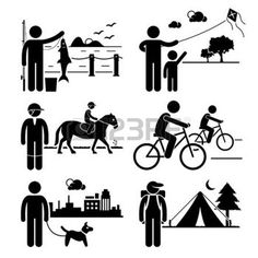 Recreational Outdoor Leisure Activities - Fishing, Kite, Horse Riding, Cycling, Dog Walking, Camping - Stick Figure Pictogram Icon Clipart photo