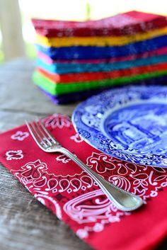 Bandanas=cute cloth napkins! {Pioneer Woman}