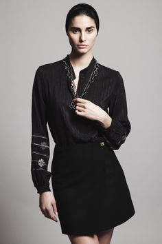 Black silk embroidered blouse EVMELIA, black wool wrap mini skirt DAREIA and bronze chain long necklace INFINITY
