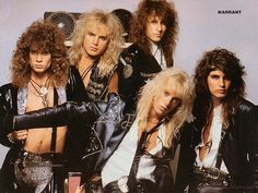 There are two groups by this name. Warrant is a glam metal band from Los Angeles, California that enjoyed its greatest success in 1990 with the album 'Cherry Pie'. Spearheaded by frontman Jani Lane, t. Glam Metal, Big Hair Bands, Hair Metal Bands, Hard Rock, Rock N Roll, Jani Lane, 80s Hair Metal, 80s Rock Bands, Rock Y Metal
