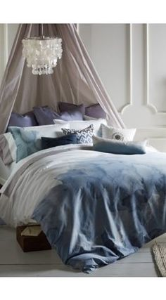 Pacific Duvet set by Blissliving Home. I just want to climb into this bed! Home Bedroom, Bedroom Decor, Bedrooms, Master Bedroom, Serene Bedroom, Contemporary Duvet Covers, Mayfair, Blue Duvet, Nooks
