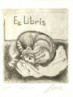 Ex-libris - Cattina - Acquaforte di Sene Nicola (1939)
