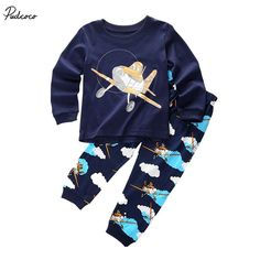 e6ca68d2b6d0 2017 Summer print floral Kids Baby Girl Boys Planes Cartoon T shirt Top+Pant  Sleepwear 2pcs Outfit cotton Clothes-in Clothing Sets from Mother   Kids on  ...