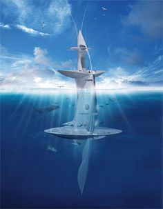 How exciting!  The 50m high 'SeaOrbiter' will use technologies from solar power to wind turbines and is completely self-sustainable.    The SeaOrbiter is unique as a vessel in that nearly 50 per cent of its mass is actually underwater allowing for constant interaction with the ocean.  Above the waterline is the majority of the fin-like hull housing living-quarters, research labs, the observation deck and bridge.     It's expected to launch as early as next year....I want to see this!!
