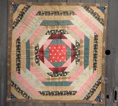 1880-1900 REAL LOG CABIN, Pineapple Variation, DOLL QUILT, WELL MADE, antiquesnavegator