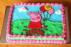 Peppa Pig Sheet Cake ((K. really likes this one))