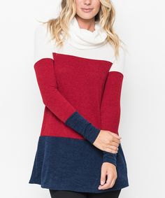 This Caralase Red Colorblock Cowl Neck Sweater Tunic by Caralase is perfect! #zulilyfinds