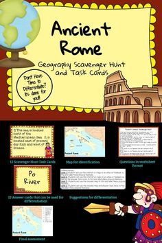 Ancient Rome: Geography Scavenger Hunt and Task Cards - Differentiated 7th Grade Social Studies, Social Studies Activities, Teaching Social Studies, Teaching History, Ancient World History, World History Lessons, History For Kids, History Facts, Art History