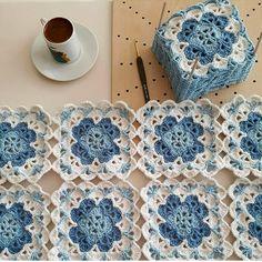 Crochet Stitches Free, Granny Square Crochet Pattern, Crochet Squares, Crochet Motif, Granny Squares, Diy Crafts Knitting, Diy Crafts Crochet, Crochet Home, Crochet Projects