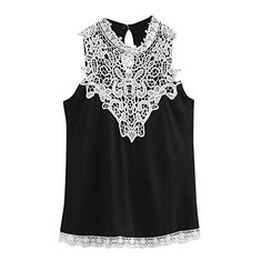 c07c2a44048 T-Shirts Women Ladies Summer Casual Lace T-Shirt Sleeveless Vest Tank Tops  Blouse
