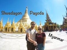 The Married Wanderers visit the most beautiful pagoda in Myanmar - the Shwedagon Pagoda in Yangon City. Shwedagon Pagoda, Myanmar Travel, Yangon, Travel Couple, Southeast Asia, Gopro, Barcelona Cathedral, Exploring, Travel Inspiration