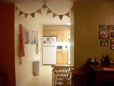 DIY flag bunting... I saw this done with mini British flags and loved it.