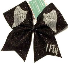 Bows by April - Black and SIlver Glitter IFLY Angel Wings Cheer Bow, $18.00 (http://www.bowsbyapril.com/black-and-silver-glitter-ifly-angel-wings-cheer-bow/)