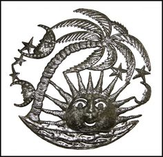"""Caribbean Sun Beach Scene Metal Wall Hanging - Haitian Recycled Steel Oil Drum Art - 24""""   - Handcrafted in Haiti from flattened, recycled steel oil drum using a hammer, chisel and nail. Very detailed work. Garden décor. @ Haiti Metal Art"""