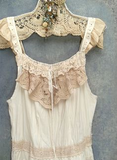 dress custom, redo Layered boho ruffles and lace upcycled vintage fabrics by Resurrection Rags, via Flickr