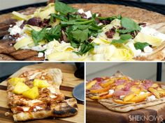 3 Easy grilled pizzas: Grilled Greek pizza, grilled barbecue chicken and pineapple pizza and grilled peach and prosciutto pizza Unique Recipes, Great Recipes, Favorite Recipes, Ethnic Recipes, Make Ahead Meals, No Cook Meals, Easy Cottage Meals, Grilled Pizza Recipes, Greek Pizza