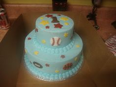 blue sports birthday cake - top tier could be baby's smash cake