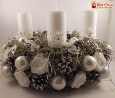 couronne de l'avent pour Noël blanche avec bougies blanches : Accessoires de maison par bea-crea