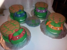 TMNT cake set! $135.00 Handmade toppers(heads) available on Etsy https://www.etsy.com/shop/CreativeCakesbyLisa?ref=hdr_shop_menu