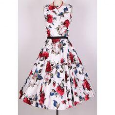 $29.76 Vintage Scoop Neck Sleeveless Rose Print Women's Pleated Dress
