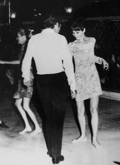 Signora Audrey Hepburn Dotti photographed dancing with Dr. Andrea Dotti (next to Doris Brynner) at a night club in Istanbul (Turkey), on June 21, 1968. -Audrey was wearing a silk dress of Ken Scott (of his collection for the Spring/Summer of 1967).