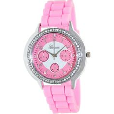 Geneva Platinum Women's 1848.SILVER.PINK Pink Rubber Analog Quartz Watch with Pink Dial (300×300)