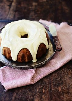 Chai Spiced Apple Cake with Mascarpone Frosting.
